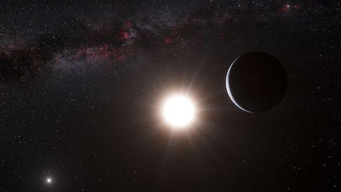 Concepção artística do planeta Alpha Centauri é um sistema estelar binário com a estrela mais brilhante Alpha Centauri A e Alpha Centauri B. outro