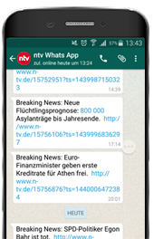 n-tv Breaking News bei WhatsApp